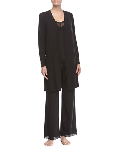 Gisele Long-Sleeve Robe, Sleeveless Lace-Trimmed Cami & Lace-Trimmed PJ Pants