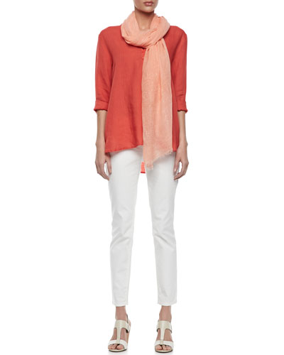 Organic Linen Long-Sleeve Tunic, Tinted Sparkle Scarf & Organic Skinny Ankle Jeans, Petite