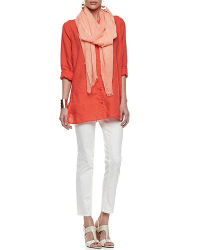 Organic Linen Long-Sleeve Tunic, Tinted Sparkle Scarf & Skinny Ankle Jeans, Women