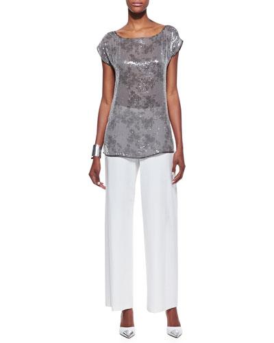 Clear Sequined Short-Sleeve Top & Modern Wide-Leg Pants, Petite