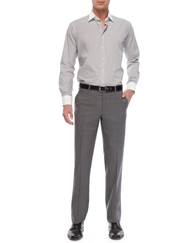 Diamond-Print Sport Shirt & Flat-Front Wool Trousers