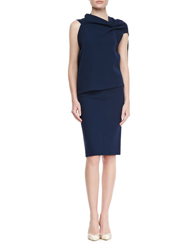 Eugene Drape-Front Open-Back Top & High-Waist Wool Crepe Pencil Skirt