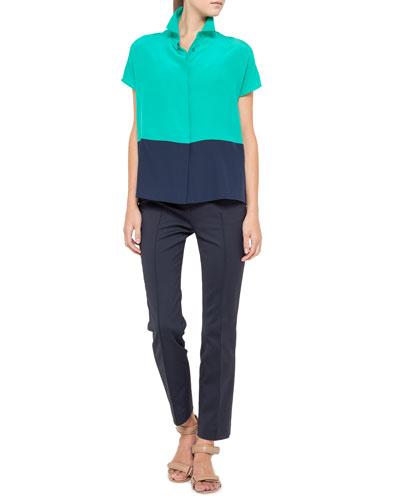 Cap-Sleeve Colorblock Top and Franca Cropped Techno Pants