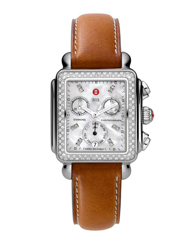 Deco Diamond Watch Head & 18mm Saddle Leather Strap
