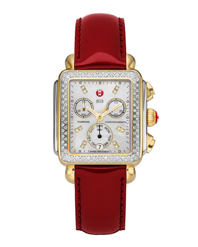 Deco Diamond Dial Two-Tone Watch Head & 18mm Scarlet Patent Strap