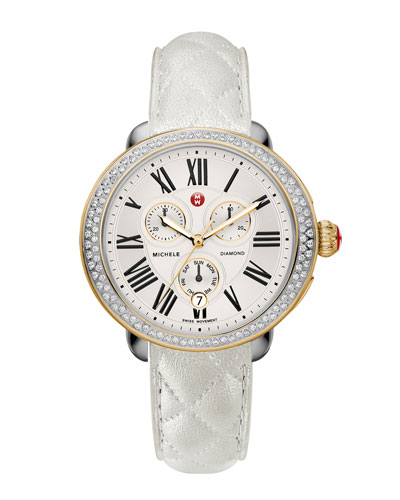 Serein Diamond Two-Tone Watch Head & 18mm White Quilted Leather Strap