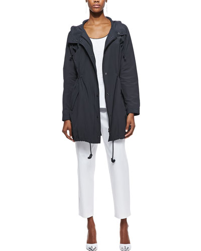 Weather-Resistant Jacket, Tipped Long Tank & Twill Slim Ankle Pants, Women's