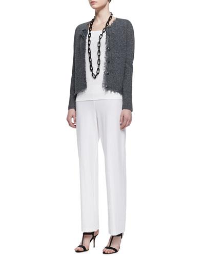 Basket Stitch Knit Jacket, Long Slim Camisole & Wide-Leg Pants, Petite