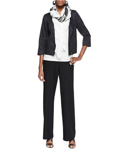 Polished Ramie Jacket, Long Slim Camisole, Wide-Leg Pants & Printed Big ...