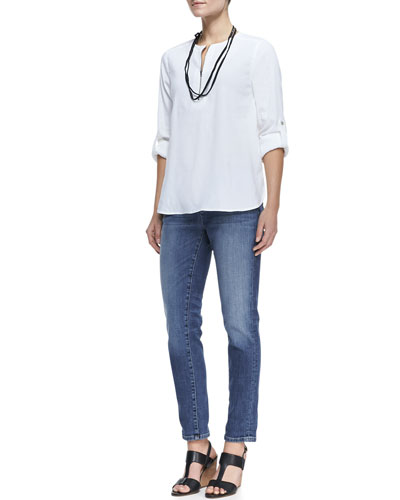 Zip-Front Linen-Stretch Tunic, Stretch Boyfriend Jeans & Sequined Rivulet Necklace