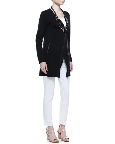 Leather-Trim Long Jacket, Organic Slim Tank & Skinny Ankle Jeans, Women's