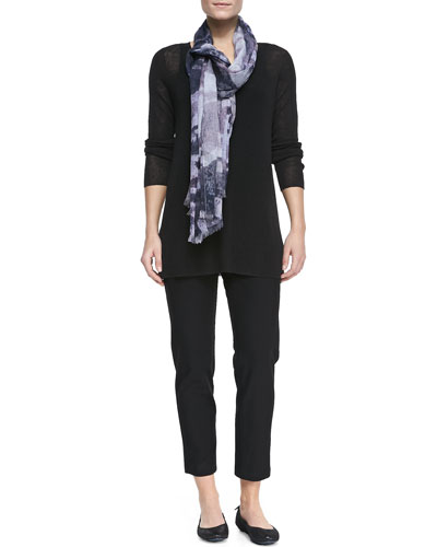 Linen-Blend Long-Sleeve Tunic, Slim Camisole, Printed Gauze Scarf & Crepe ...