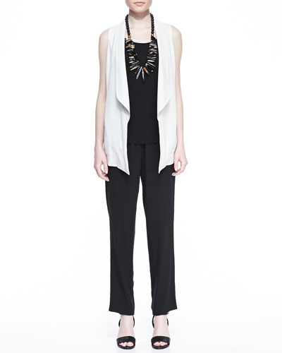 Silk Shawl-Collar Vest, Silk Jersey Long Slim Camisole & Silk Georgette ...