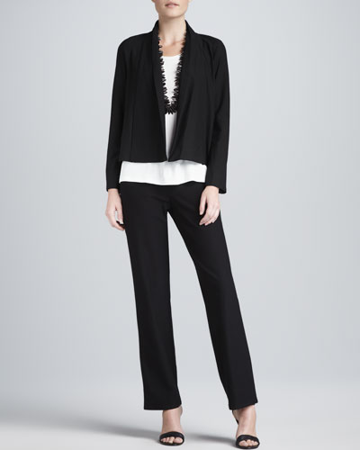 Washable Stretch-Crepe Short Jacket, Jersey Tank & Straight-Leg Pants, Women