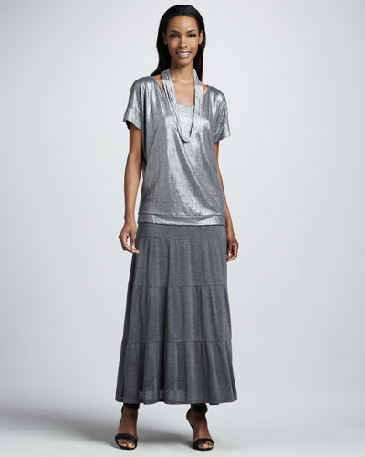 Shimmer Soft V-Neck Top, Tiered Maxi Skirt & Drapey Metallic Necklace