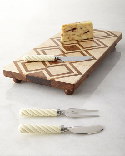 Teak Cheese Board & Kent Cheese Server Set
