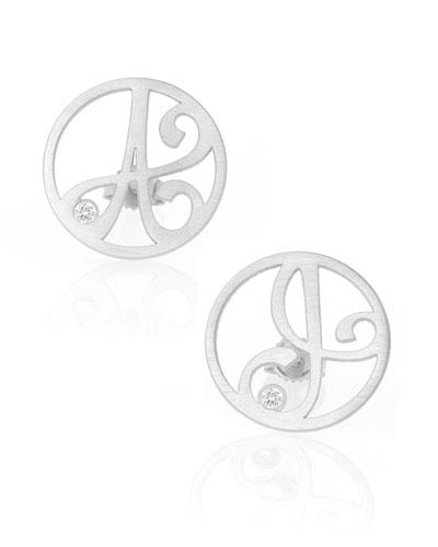 Singular Mini One-Initial Diamond Stud Earring, Rhodium Silver