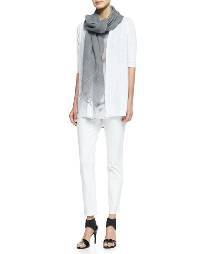 Half-Sleeve Open-Front Cardigan, Crystalline Printed Scoop-Neck Tunic, Sequined Striped Linen Scarf & Skinny Ankle Jeans, Women