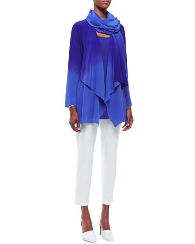 Ombre Silk Long Jacket, Crepe Scarf, Long Silk Jersey Tunic & Washable Stretch-Crepe Ankle Pants