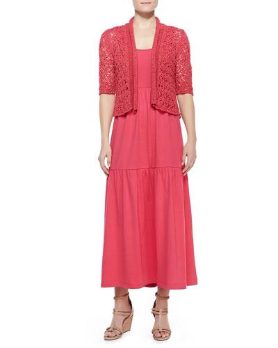 Tape-Yarn Knit Cardigan & Tiered Long Tank Dress
