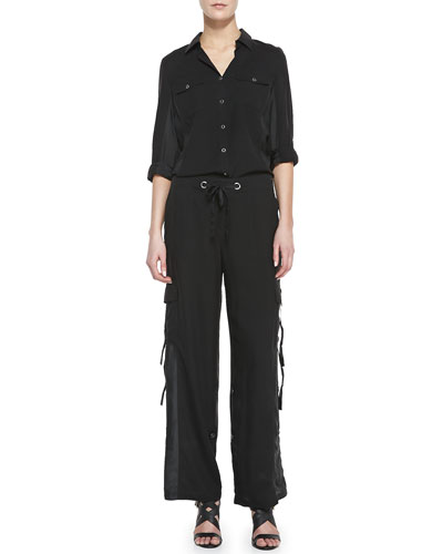 Silk Safari Shirt & Cargo Pants, Women's