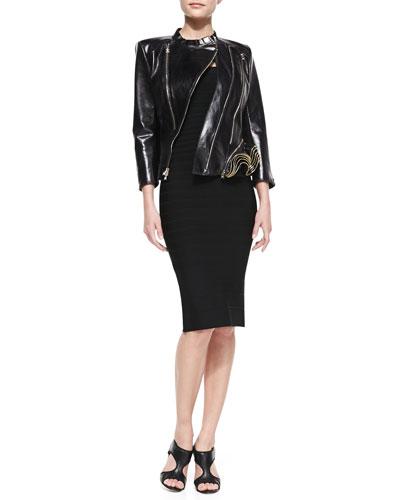 Leather Double-Zip Jacket & Sianna Strapless Formfitting Bandage Dress