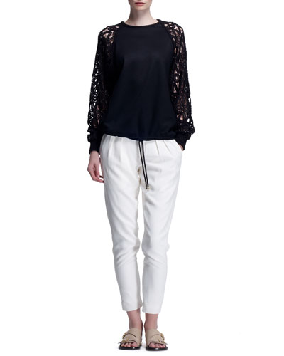 Milano Wool Sweater with Guipure Lace Sleeves & Light Cady Pants