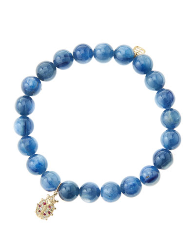 8mm Kyanite Beaded Bracelet with 14k Gold/Diamond Medium Ladybug Charm ...