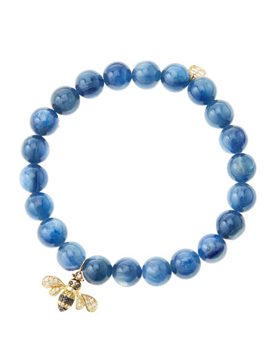 8mm Kyanite Beaded Bracelet with 14k Gold/Diamond Bee Charm (Made to Order) ...