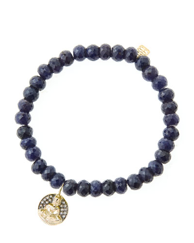 6mm Faceted Sapphire Beaded Bracelet with 14k Gold/Diamond Sitting Buddha ...