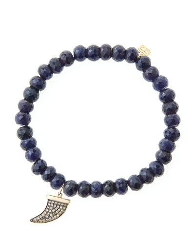 6mm Faceted Sapphire Beaded Bracelet with 14k Gold/Diamond Medium Horn ...