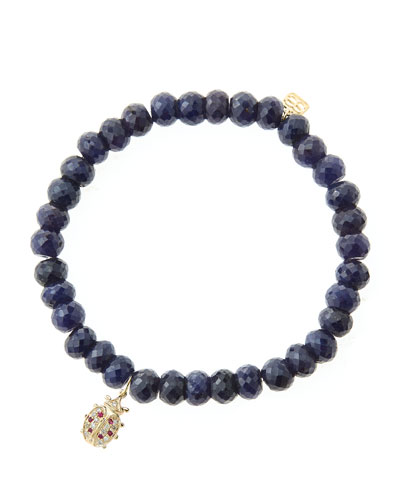 6mm Faceted Sapphire Beaded Bracelet with 14k Gold/Diamond Medium Ladybug ...