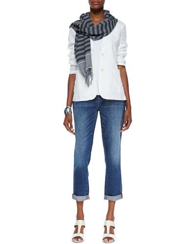 Handkerchief Linen 2-Button Jacket, Slim Tank, Stretch Boyfriend Jeans & ...