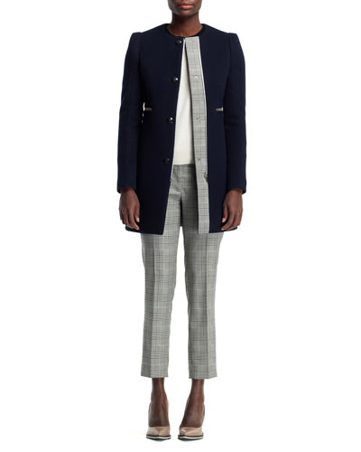 Jewel-Neck Plaid-Trim Coat, Cashmere Colorblock Sweater & Glen Plaid ...