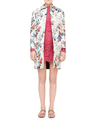 Watercolor Floral Brocade Coat & Lace Scalloped Dress