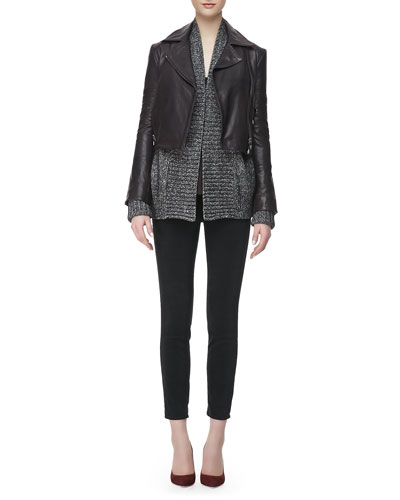 Aiah Leather Zip-Front Jacket, Nadja Thin-Strap Tank Top, Ivanka Marled ...