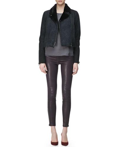 Lana Leather Jacket with Fur Collar, Juju Short-Sleeve Silk Blouse & L8001 ...