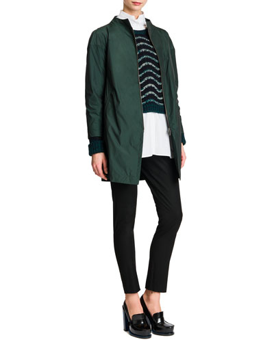Zip-Front Collarless Tech Jacket, Wavy-Stripe Cropped Knit Sweater, Button-Front Mock-Collar Tunic & Tab-Front Zipper-Cuff Slim Pants