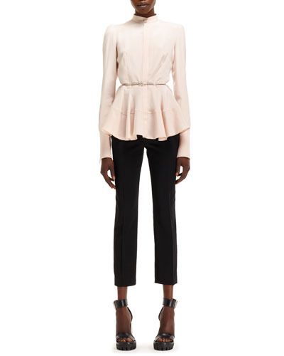 Light-Cady Mandarin-Collar Shirt & High-Waist Cropped Pants