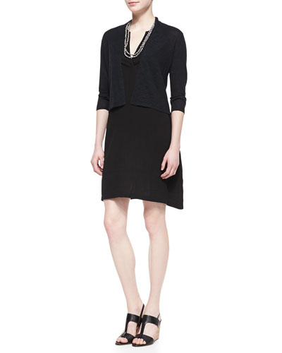 3/4-Sleeve Cropped Cardigan, Split-Neck Sleeveless Dress & Bandhini Printed ...