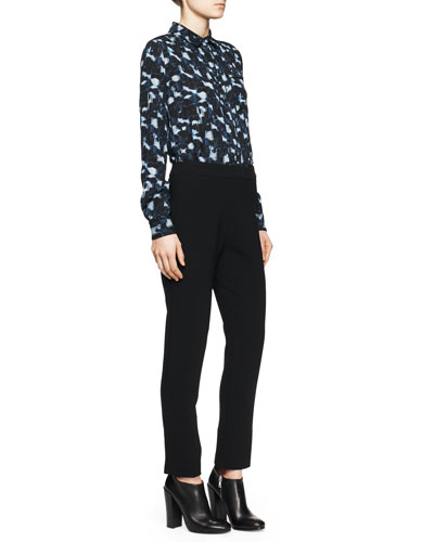 Printed Pocket Blouse and Notched Straight-Leg Pants