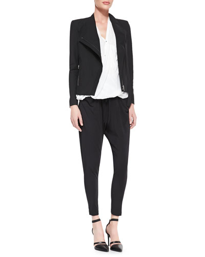 Tie-Neck Front-Zip Jacket, Lush Voile Draped Blouse & Draped Jersey ...