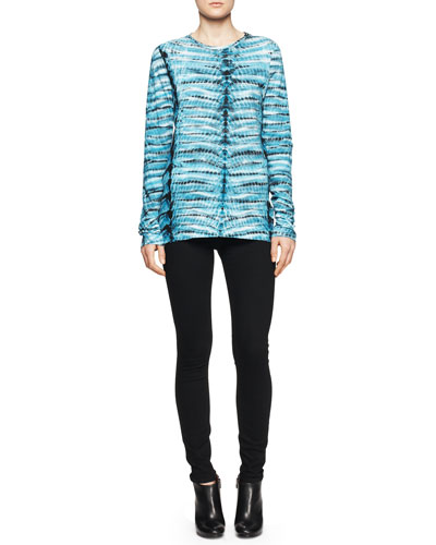 Jersey Tie-Dye Tissue Top and Ultra-Skinny Ankle Jeans