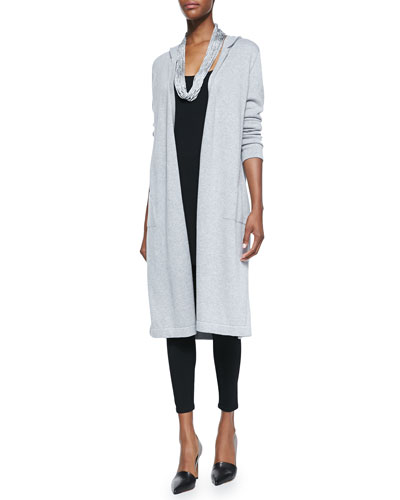 Hooded Long Organic Cotton Cardigan, Long Jersey Tunic, Viscose Jersey Leggings & Drapey Metallic Necklace