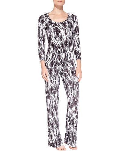 Pordenone Snake-Print Sleep Top & Wide-Leg Pants