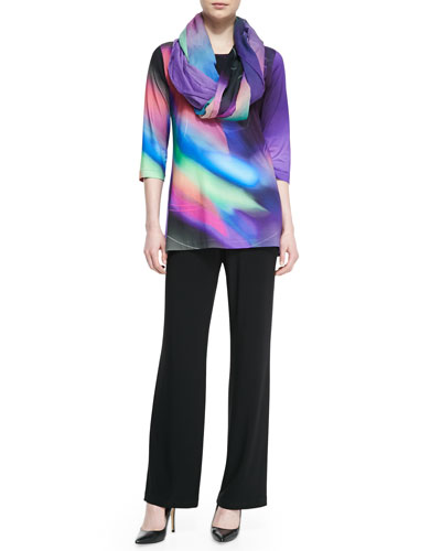 Cosmic-Print Jersey Tunic, Georgette Scarf & Stretch-Knit Straight-Leg Pants