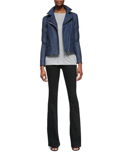 Joan Denim Biker Jacket, Short-Sleeve Crewneck Tee & Flared-Leg Jeans