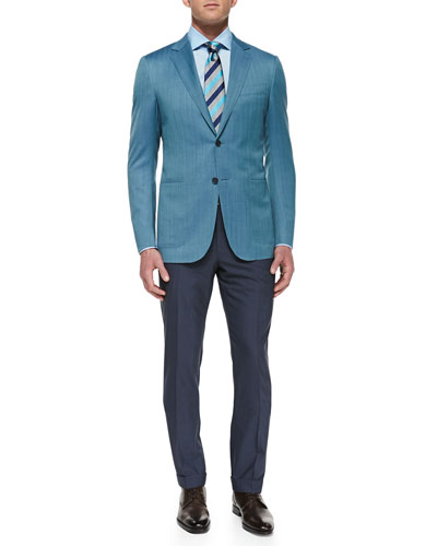 Herringbone Two-Button Jacket, Pencil-Stripe Dress Shirt, High Performance ...