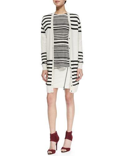 Striped Button-Front Cardigan, Striped Cowl-Back Silk Blouse & Asymmetric ...