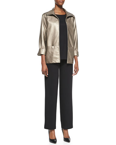Modern Faux-Leather Jacket, Ponte Knit Easy Tee & Ponte Straight-Leg Pants, ...